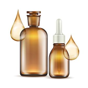 Botellas de vidrio marrón realistas para cosméticos de aceite.