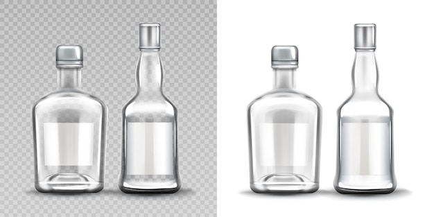Botellas de vidrio de varias formas. vodka, ron, whisky