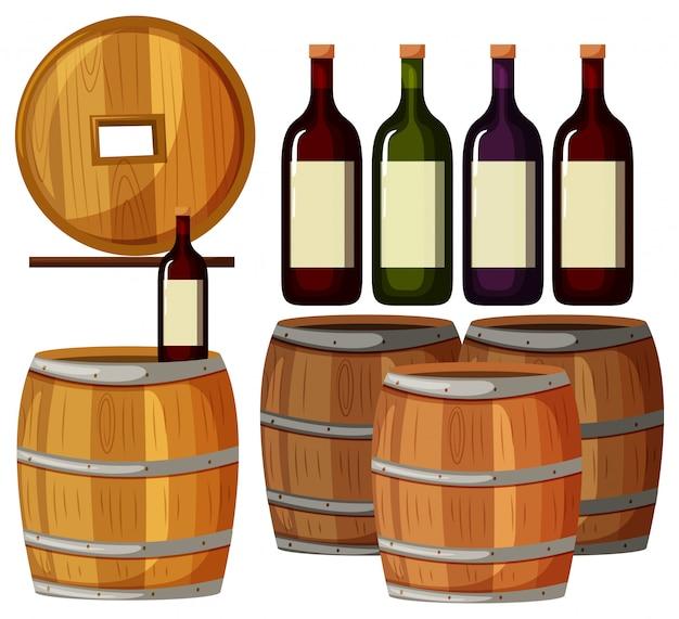 Botellas de vino y barriles de madera