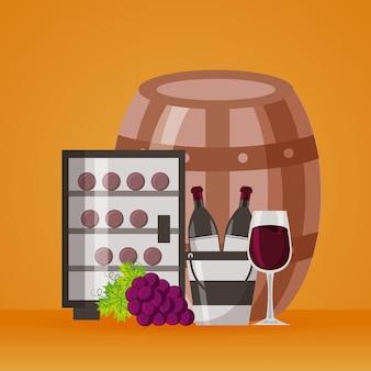 Botellas de vino, cubo de hielo, refrigerador, taza y uvas