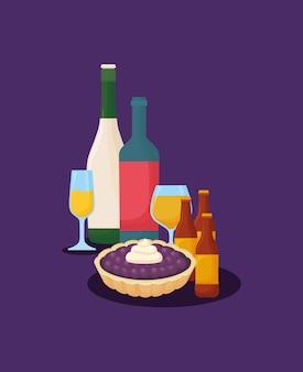 Botellas de vino con tarta y botellas de cerveza