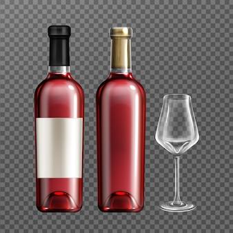 Botellas de vino tinto y vaso vacío