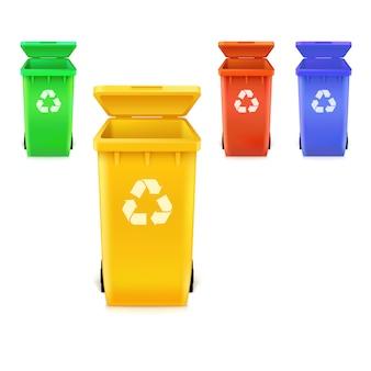 Botes de basura de diferentes colores con iconos para reciclar productos