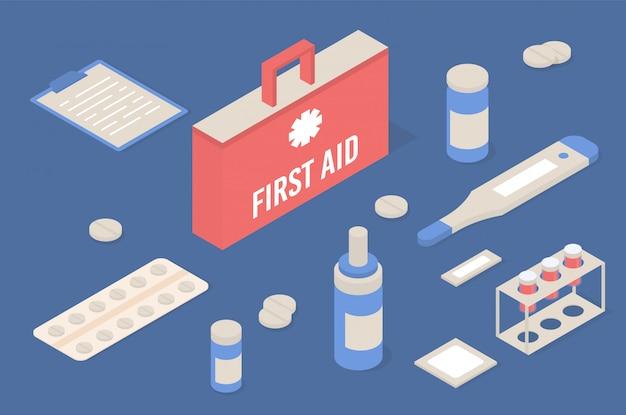 Botiquín de primeros auxilios con iconos isométricos de equipos médicos.