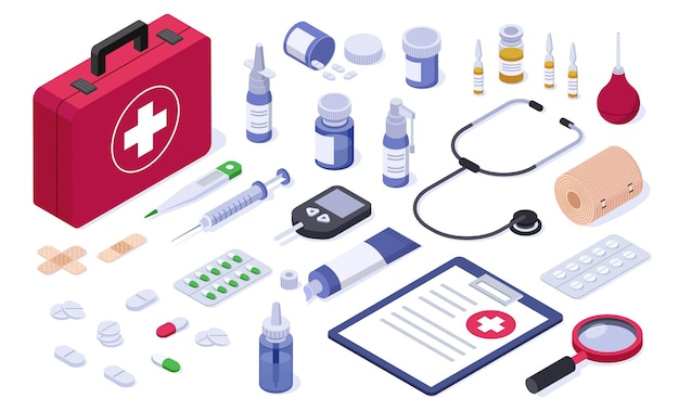 Botiquín de primeros auxilios isométrico equipo médico de atención médica vendaje tableta píldora jeringa aerosol estetoscopio