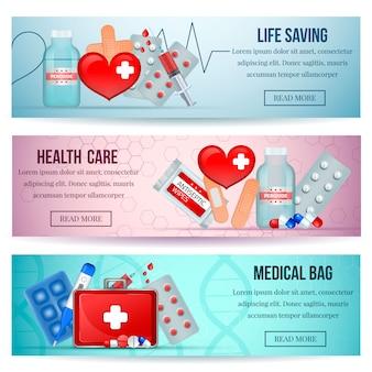 Botiquines de primeros auxilios horizontales realistas del sitio web de atención médica con suministros de emergencia médica