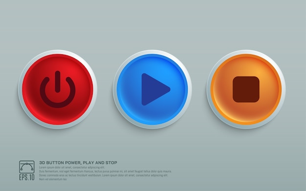 Botón 3d encendido, reproducción y parada