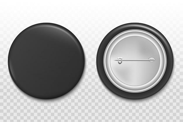 Botón 3d, plantilla de maqueta de broche insignia en blanco.
