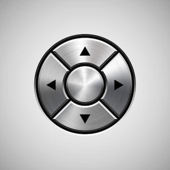 Botón abstracto joystick con textura de metal