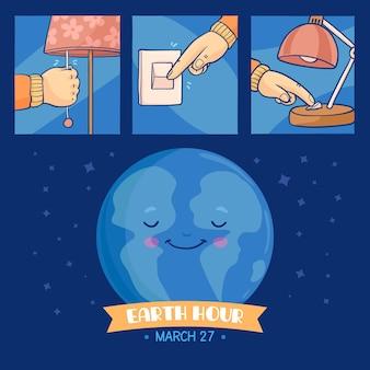 Botón de apagado de la hora del planeta dibujado a mano