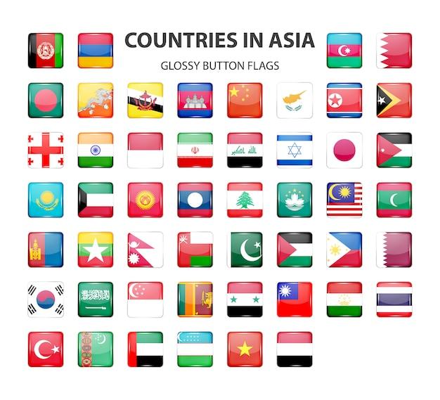 Botón brillante banderas de asia. colores originales