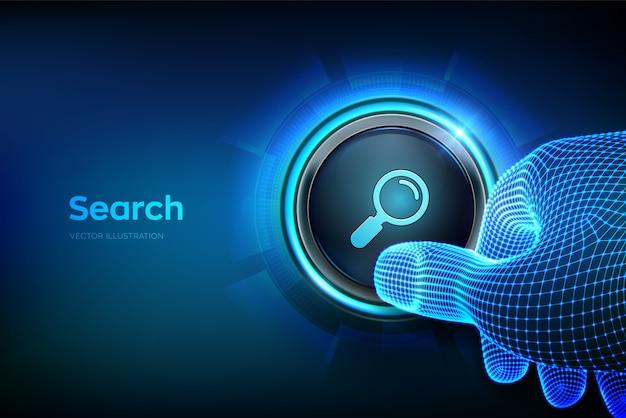 Botón de búsqueda. primer dedo a punto de presionar un botón con el símbolo de búsqueda. concepto de red de información de datos de navegación de búsqueda.