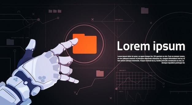 Botón de carpeta de archivo táctil de mano robótica en banner de pantalla digital
