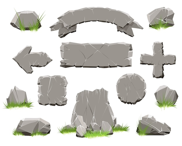 Botón de círculo de roca, icono de piedra