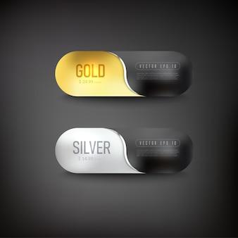 Botón de conjunto de web de hierro dorado sobre fondo negro
