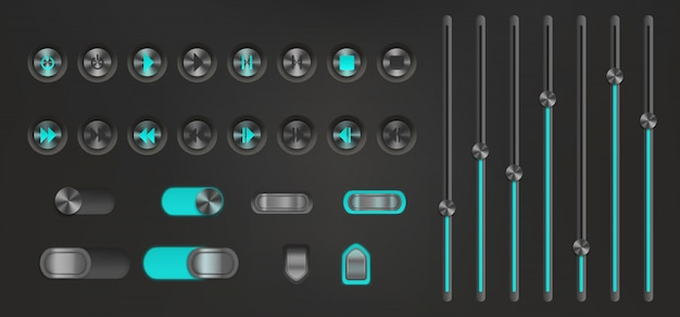 Botón de control con luz de fondo de neón. reproductor multimedia