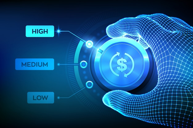 Botón de control de los niveles de retorno de la inversión. configuración de la mano de estructura metálica botón roi en la posición más alta.