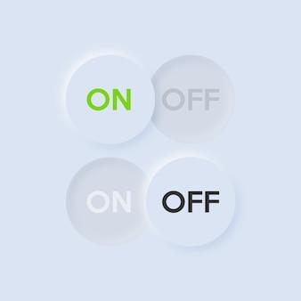 Botón de encendido y apagado del icono. diseño de ui y ux de neumorfismo.