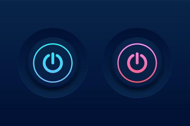 Botón de encendido y apagado en la oscuridad