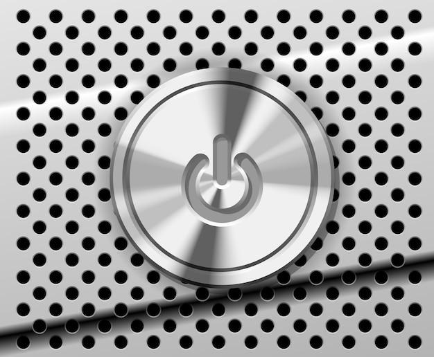 El botón de encendido en el metal perforado