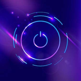 Botón de encendido vector icono púrpura