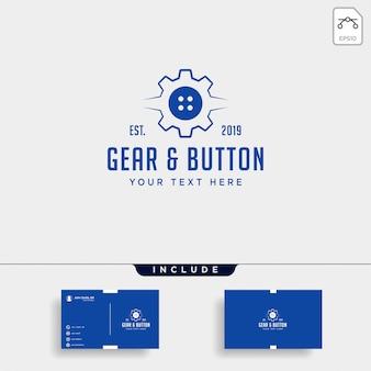 Boton de engranajes logo linea ropa industrial