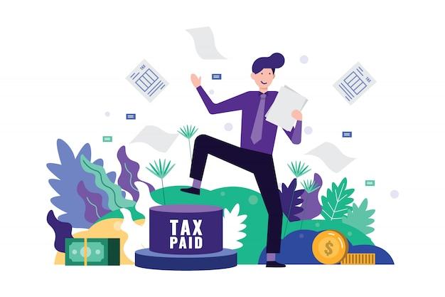 Botón feliz del pedal del hombre de negocios al impuesto pagado y a los documentos claros del impuesto.