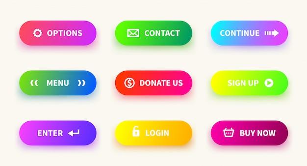 Botón de gradiente de acción. obtenga más información sobre los botones de navegación de la interfaz de usuario web, la aplicación de juegos móviles, el banner de descarga degradado