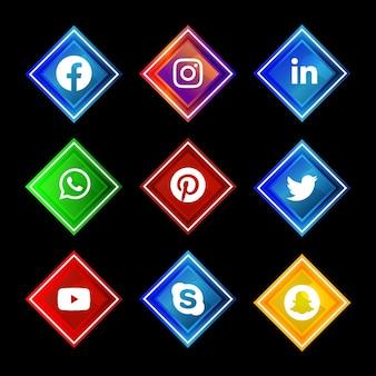 Botón de icono de redes sociales brillante