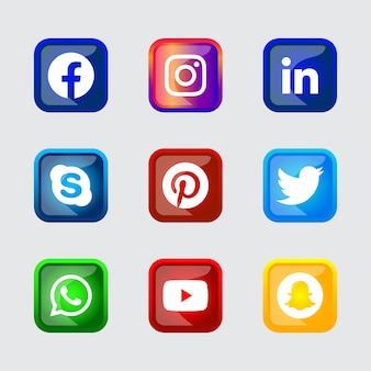Botón de iconos de redes sociales con marco plateado brillante cuadrado con efecto degradado establecido para uso en línea ux ui