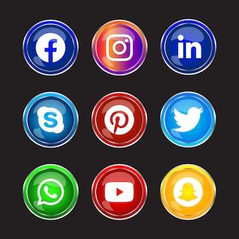 Botón de iconos de redes sociales con marco plateado brillante redondo con efecto degradado para uso en línea de ux ui