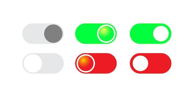 Botón de interruptor de palanca para vector de aplicación móvil sobre fondo blanco aislado