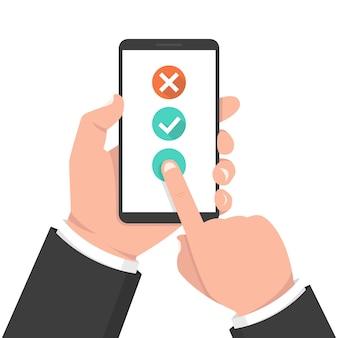 Botón de lista de verificación en la pantalla del teléfono inteligente
