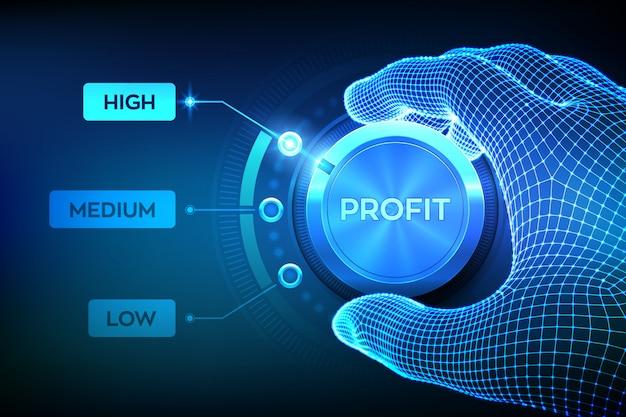 Botón de mando de niveles de beneficio. nivel de ganancia creciente. botón de ganancia de configuración de mano de estructura metálica en la posición más alta.