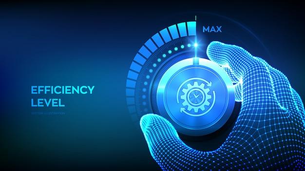 Botón de mando de niveles de eficiencia. mano de estructura metálica girando una perilla de eficiencia a la posición máxima.