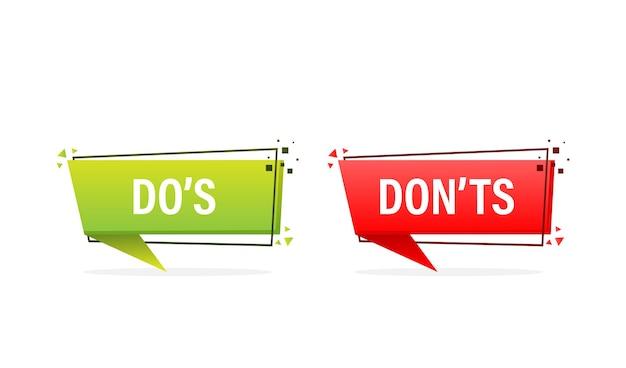 Botón de marca de verificación con lo que se debe y no se debe hacer