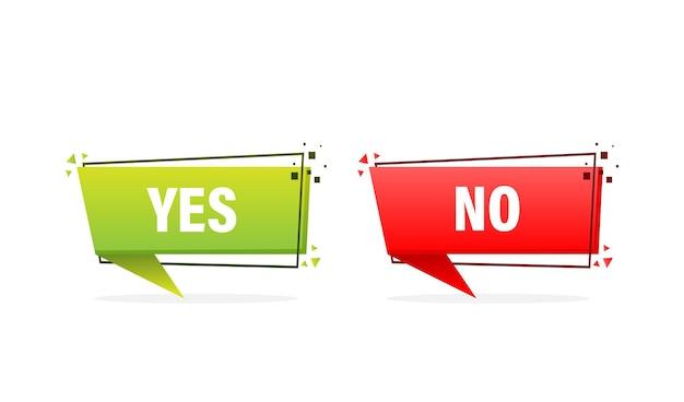 Botón de marca de verificación con sí y no