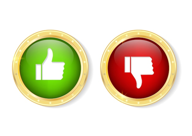 Botón me gusta y no me gusta. elementos de diseño para cualquier propósito. pulgares arriba y pulgares abajo en emblemas de círculo dorado.