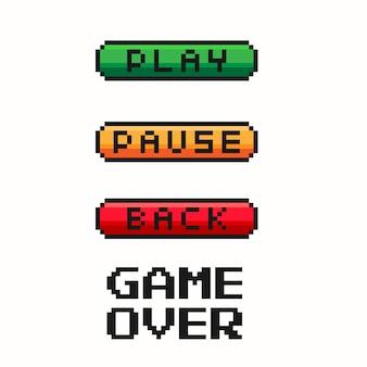 Botón del menú del juego de píxeles: reproducir, pausar, volver. controlador de juegos.