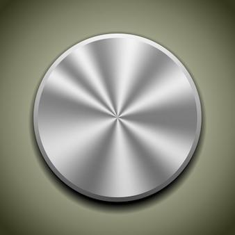 Botón de metal realista con procesamiento circular, reflejo de cono