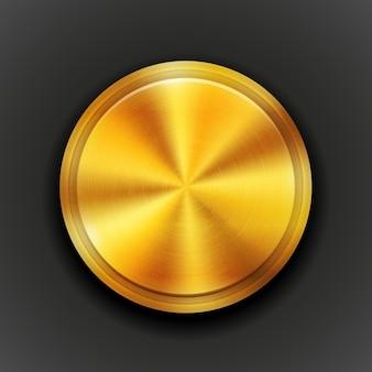Botón de metal con textura redonda de oro vectorial con un patrón de textura de círculo concéntrico y vista aérea de brillo metálico en la ilustración de vector negro