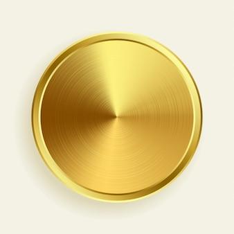 Botón metálico dorado realista en textura de superficie cepillada.
