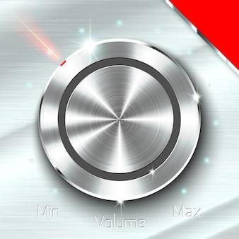 Botón monocromático del volumen en fondo metálico de la hoja.