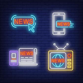 Botón de noticias, televisor, periódico y smartphones letreros de neón.