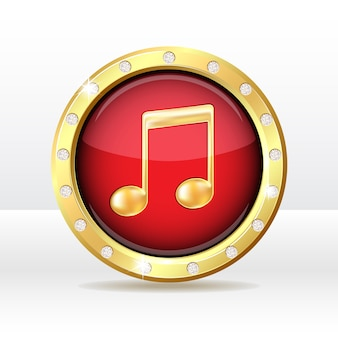 Botón de oro con signo de nota musical. icono de la música. ilustración