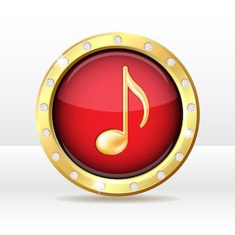 Botón de oro con signo de nota musical. icono de la música