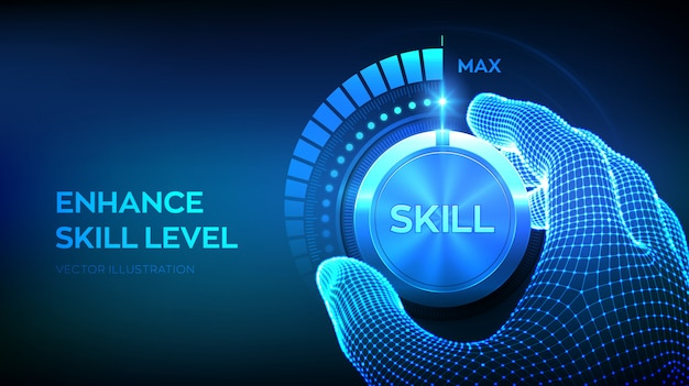 Botón de perilla de niveles de habilidad. aumento del nivel de habilidades