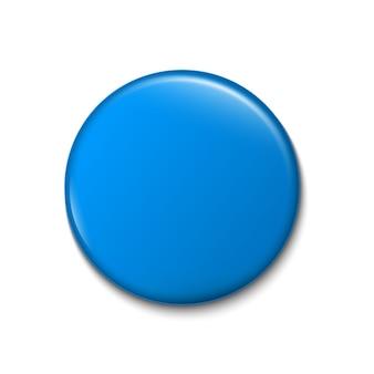 Botón pin 3d, plantilla de broche de insignia en blanco.