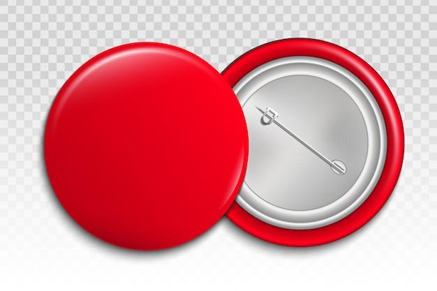 Botón pin 3d, plantilla de maqueta de broche de insignia en blanco.