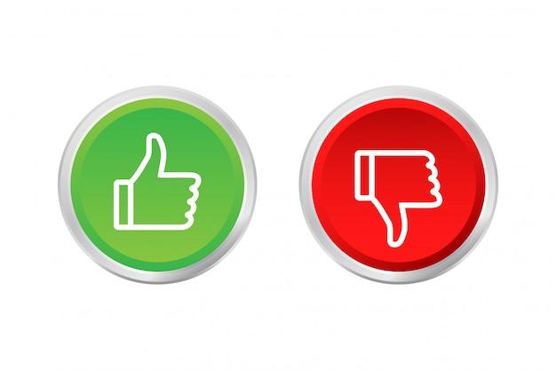 Botón plano verde sobre fondo rojo. ok signo trumb up, gran diseño para cualquier propósito. concepto de redes sociales. ilustración de stock